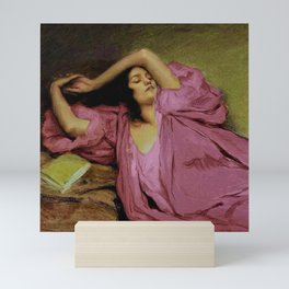 """Classical masterpiece """"Woman Stretching on Couch"""" by Emile Victor Prouvé Mini Art Print"""