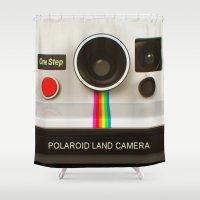 polaroid Shower Curtains featuring POLAROID by MiliarderBrown