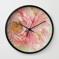 peonies Wall Clocks featuring Peonies by Lizzy Pe