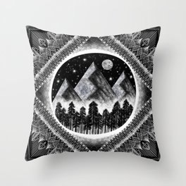 Moon, Mountains, and Stars Geometric Black and White Throw Pillow
