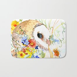 barn owl and flowers floral owl decor artwork Bath Mat