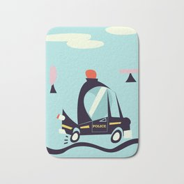 Cartoon Police Car Bath Mat