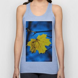 Yellow Mapple Leaf On Blue Unisex Tank Top