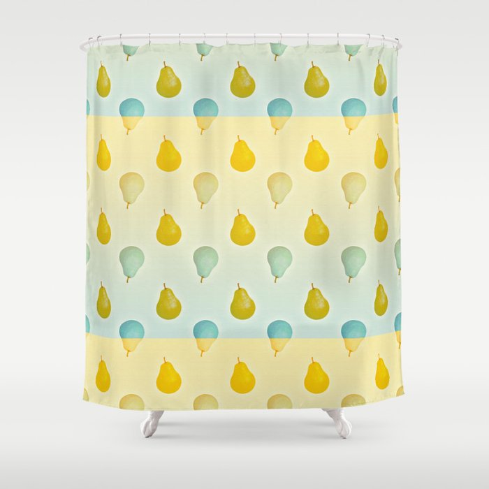 Pear Pattern Blue Yellow Shower Curtain