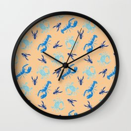 Blue Lobsters, Crabs, and Crayfish on Light Orange Background.  Beach Pattern. Wall Clock