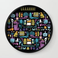 monsters Wall Clocks featuring MONSTERS by Piktorama