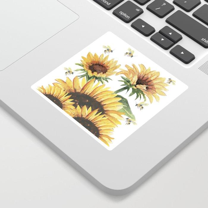 Sunflowers and Honey Bees Sticker