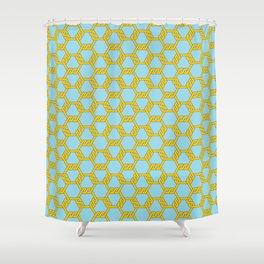 Pastel Gold-Blue Freeman Lattice Shower Curtain