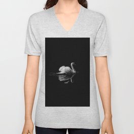 WHITE - SWAN - ON - BODY - OF - WATER Unisex V-Neck