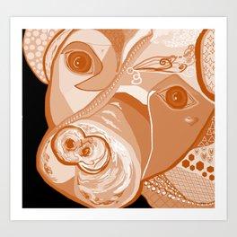 Pit Bull Sepia Tones Art Print