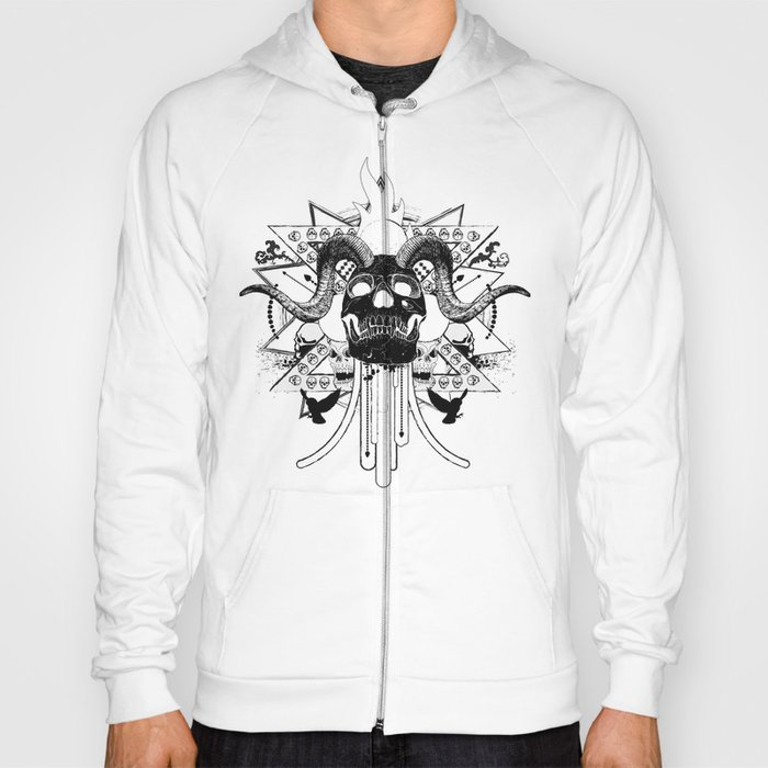 Rock Horned Skull Graphic  Hoody