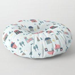 Winter Holiday Village Floor Pillow