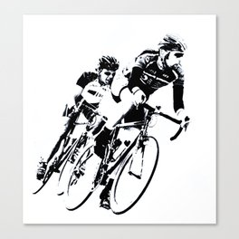 Bicycle racers into the curve... Canvas Print