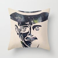 walter white Throw Pillows featuring Walter by Kayleigh Kirkpatrick