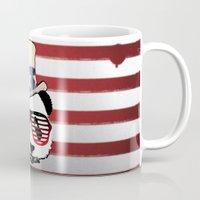 patriotic Mugs featuring Patriotic Panda by crayzeestuff