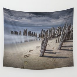Footprints and Pilings on the Beach at Kirk Park by Grand Haven Michigan Wall Tapestry