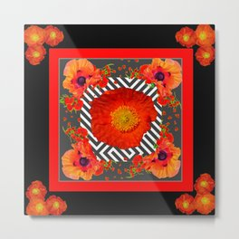 CLASSIC YELLOW-RED POPPIES GARDEN BLACK ART Metal Print
