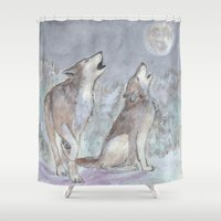 wolves Shower Curtains featuring Wolves by Jen Hallbrown