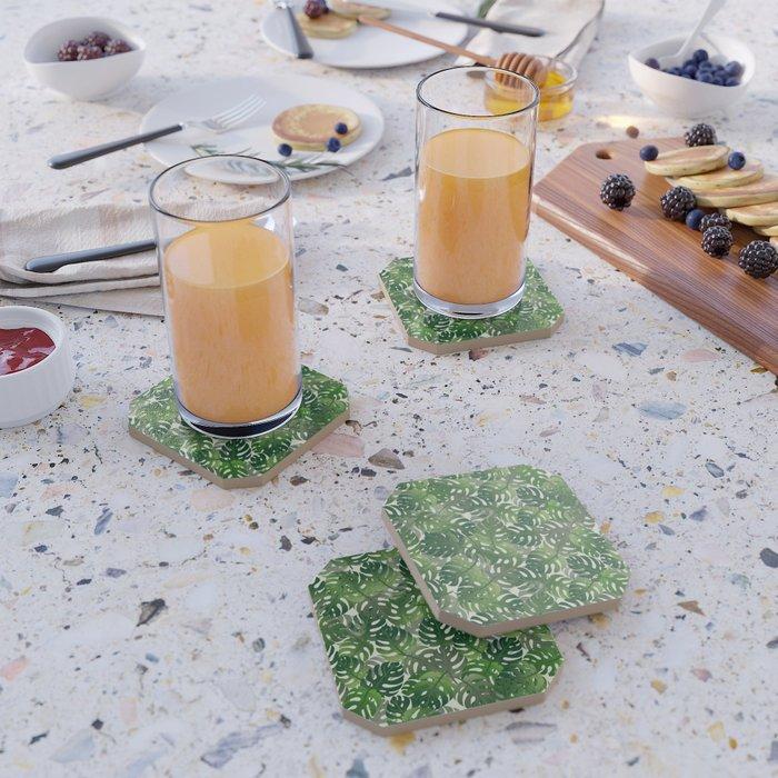 Exotic Palm Leaf Pattern Coaster