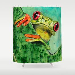 Watercolor Tree Frog Shower Curtain