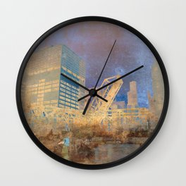 Drawbridge Chicago River City Skyline Wall Clock