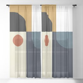 mid century abstract shapes fall winter 4 Sheer Curtain