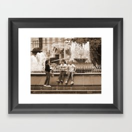 Girlfriends Chat Framed Art Print