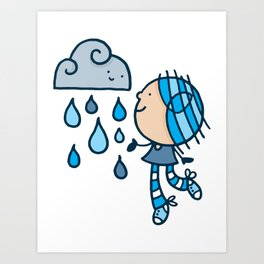 Rain Cloud Girl Art Print