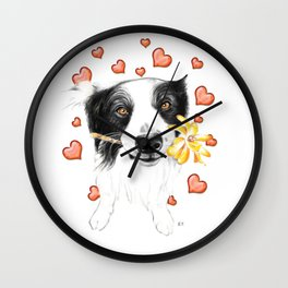 Border Collie And Hearts Wall Clock