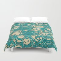 kawaii Duvet Covers featuring Kawaii by Hoborobo