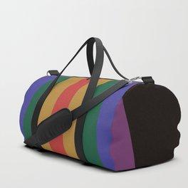 Dark Rainbow Retro Stripes Duffle Bag