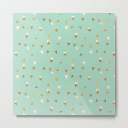 Pastel green ivory faux gold glitter abstract triangles Metal Print