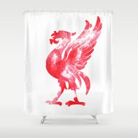liverpool Shower Curtains featuring Liverpool Liver Bird watercolour  by sarah illustration