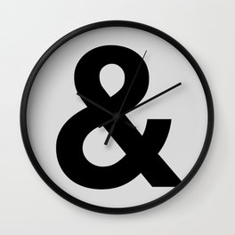 Ampersand black and white monochrome Helvetica typography poster design home wall bedroom decor Wall Clock
