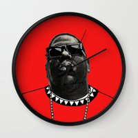 biggie Wall Clocks featuring BIGGIE by amanda balboa