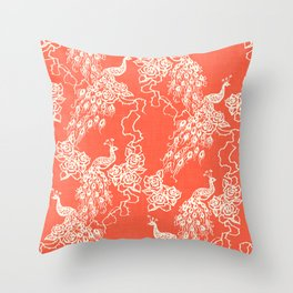 PEACOCK - coral Throw Pillow