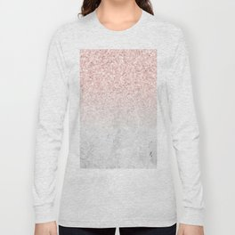She Sparkles Rose Gold Pink Concrete Luxe Long Sleeve T-shirt