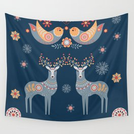 Nordic Winter Blue Wall Tapestry