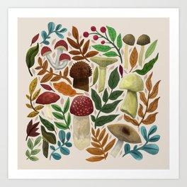 Forest Floor Mushrooms Art Print