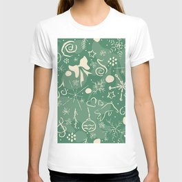 Seamless Winter pattern with hand drawn spruce, leafs, snowflakes T-shirt