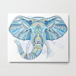 Blue Ethnic Elephant Metal Print
