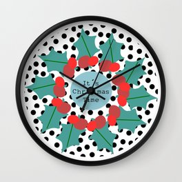 It´s Christmas Time wreath Wall Clock