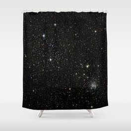 Universe Space Stars Planets Galaxy Black and White Shower Curtain