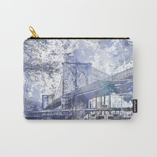 Brooklyn Bridge New York USA Watercolor blue Illustration Carry-All Pouch