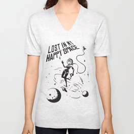 Lost In My Happy Space, grey Unisex V-Neck