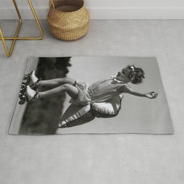 Girls Have to be Ready for Anything - Little girl on roller skates with pillow black and white photograph Rug