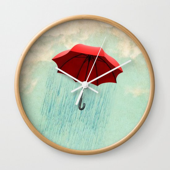 red rain Wall Clock