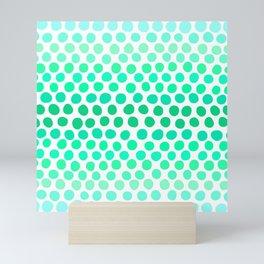 Seafoam Green, Teal and Light Blue Dots Mini Art Print