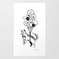 Cat Lady (Black and White) Art Print