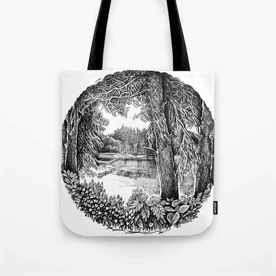 Trees near the river Tote Bag